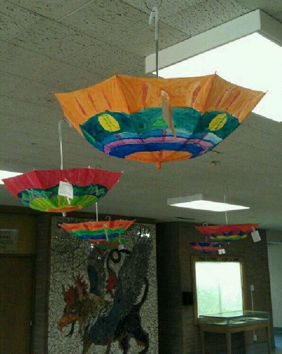 Awesome school art project! VanWyck Jr. High, Fishkill.- Learn about Japanese artwork and how they create uniquely painted umbrellas...dollar store for umbrellas...