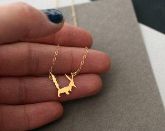 Little Prince inspired fox necklace, fox necklace, fox, little fox, golden fox ,fox jewelry, small fox , gold fox