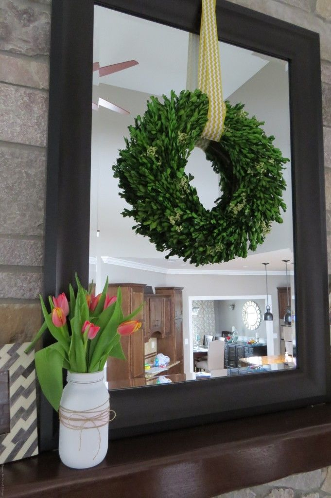 Possibly Frame Our Ugly Fireplace Mirror And Hang Wreaths