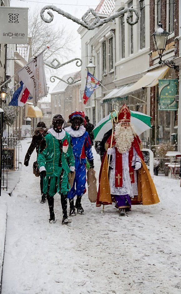 Sinterklaas (Sint Nicolaas) through the snow, Zierikzee, Netherlands