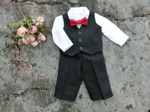 Baby black suit. Baby boys black outfit. by englaCharlottaShop