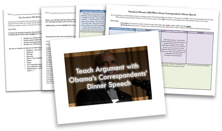 "In April of 2016, President Obama delivered his final White House Correspondent's Dinner speech.  This speech generally garners a good deal of media attention given its sharp tongued humor -- and this speech, Obama's last, is no different.  These resources provide three different activities to promote analytical thinking in your students:  	A sentence-level compare and contrast between this speech, and earlier speeches delivered by the president 	A ""highlighter analysis"" to scaffold…"