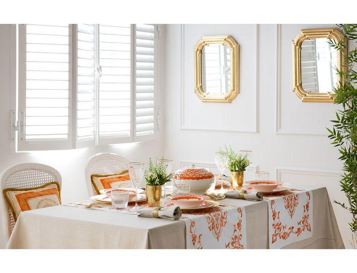 Royal collection table set orange white and ecru