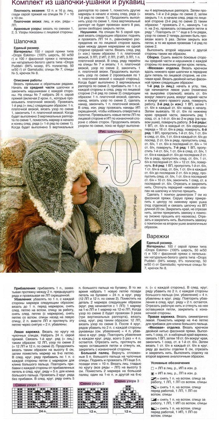 теплые вязаные шапки ушанки схемы и описание