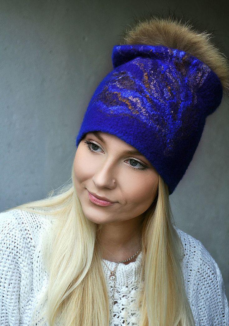 """Купить Шапочка """"Рассветная"""". Шерсть мерино - синий, шапка, девушка, нуно-фелтинг, валяная шляпка"""