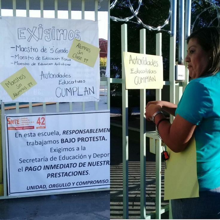 Molestos por la falta de ¡cinco maestros!, padres cierran la primara Algodoneros de Delicias; SEyD no les quieren contestar y echan la culpa a la CESPD