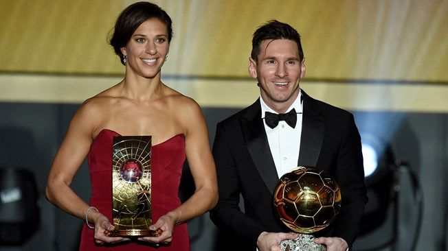 FIFA Women's World Player of the Year winner Carli Lloyd poses with FIFA Ballon d'Or winner Lionel Messi