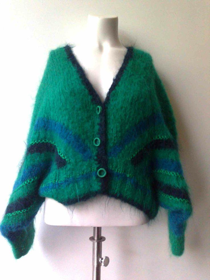 Green mohair ninties batsleeve cardigan 100% wool/mohair blend size 38 €29