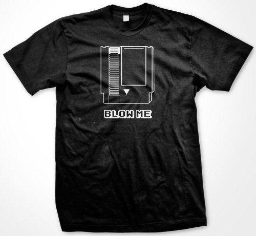 Blow Me T-shirt Old School Video Game Cartridge Mens Funny Shirts XXX-Large Black