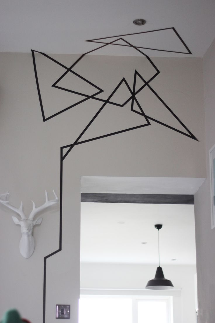 geometrical washi tape wall design DIY