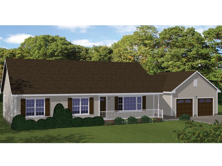 078h 0076 Small House Plan 3 Bedrooms 2 Baths 2 Car Garage With Images Ranch House Plans Garage House Plans House Plans