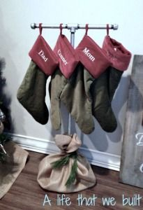 Don't have a fireplace? No problem! Build this Christmas Stocking Holder Stand for under $20!   A Life That We Built