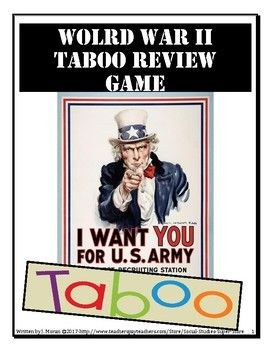 HERE IS WHAT A TABOO REVIEW GAME IS:While in teams, one students reads the card, but can NOT speak the list of taboo words on the card. If the student-reader mentions any taboo words, the other team will shout out Taboo!, then move to the next word and the other team will earn a point.