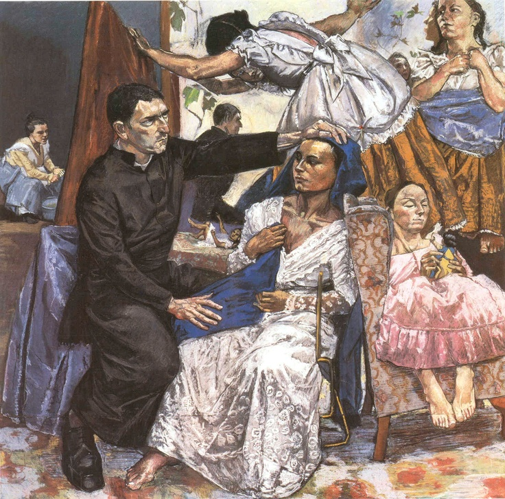 Paula Rego. The Ambassador of Jesus, 1997. Pastel on paper mounted on aluminium, 180 x 180 cm.  (Destroyed in the Momart fire in 2004)