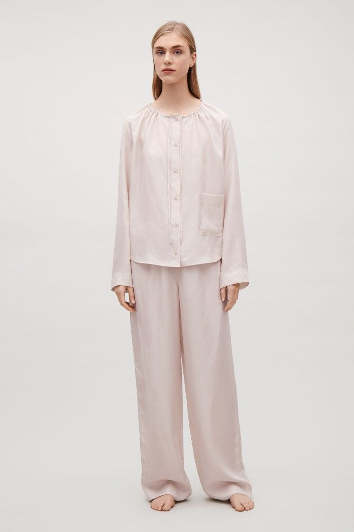 COS image 1 of Silk pyjama shirt  in Light pink