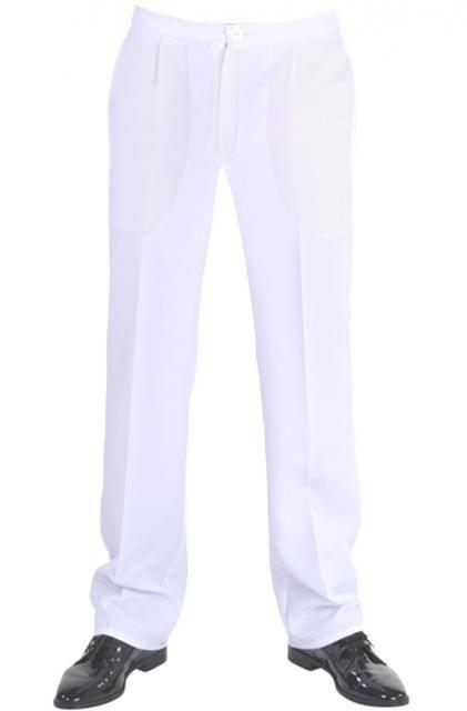 Spettacolare attrazione i Pantaloni uomo diritti bianchi eleganti dal classico effetto dinamico di moda nelle feste e cerimonia evento spettacolo In Polyestere 100% due tasche verticali sui fianchi una dietro