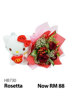 3 roses and Hello Kitty.