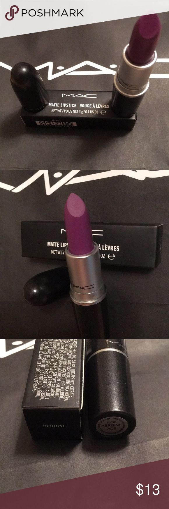 💄MAC Heroine lipstick 💄 Brand new still in box MAC Heroine lipstick 💄💄💄, no cracks no breaks. Has never been used or swatched only opened it for pictures. MAC Cosmetics Makeup Lipstick