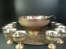 Mid-Century Indian Brass Punch Bowl Set .99 STARTING BID - NO RESERVE for sale on #eBay