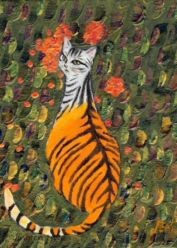 A Cat in Tiger Clothes ~ by Jingfen Hwu,  feline , acrylic painting , tabby, striped cat, #jingfenhwu