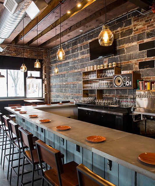 Brewer's Fork in Charlestown - small plates, pizza and craft beer in an industrial setting, right near the Bunker Hill Monument. They focus on local ingredients, cook in a wood fired oven and have a 30 tap draft beer list.