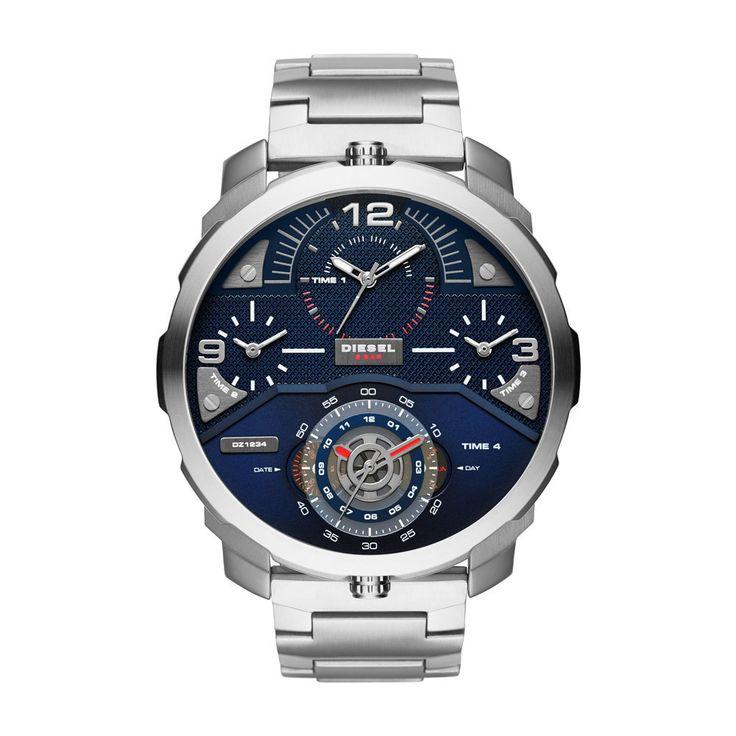 Diesel DZ7361 Machinus Sliver Stainless Steel Men's Watch With Blue