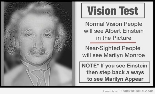 Test Your Vision - whoa, this is wierd!  When the pic is small I see Marilyn, but when it's larger I see Albert.