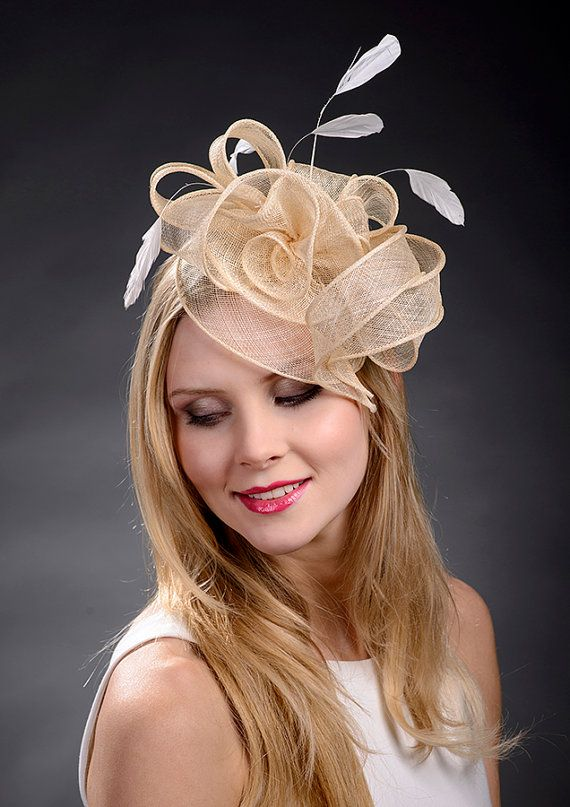 Beige champage gold fascinator hat for weddings by MargeIilane, $49.90