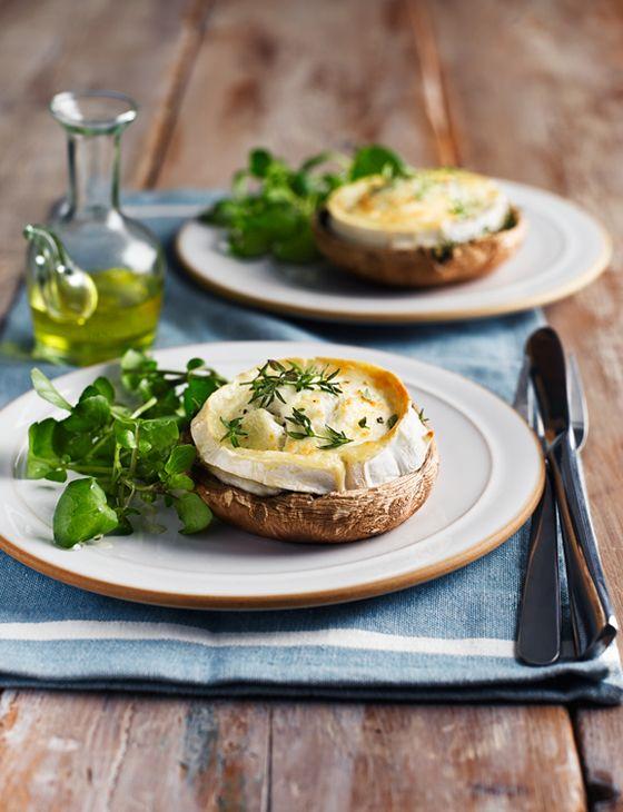 French goats' cheese on mushrooms http://www.sainsburysmagazine.co.uk/recipes/starters/veggie/item/french-goat-s-cheese-on-mushrooms#