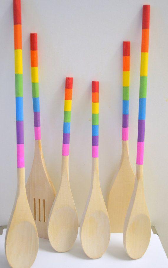 Pintado Utensilios de cocina de madera, colores del arco iris Conjunto de 6