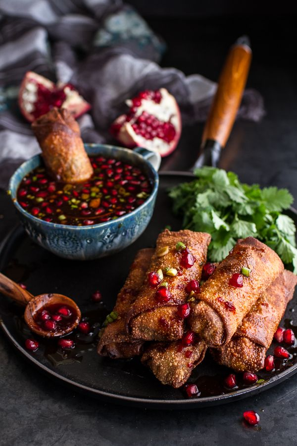 Chinese Chicken and Brussels Sprouts Egg Rolls with Sweet Chile Pomegranate Sauce | halfbakedharvest.com
