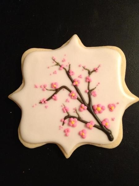 Sakura - Cherry Blossom decorated cookie Repinned By:#TheCookieCutterCompany