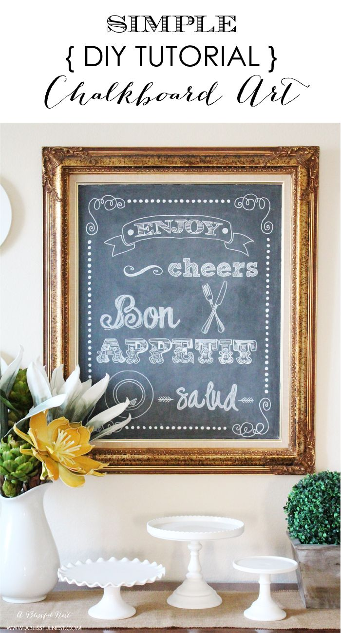 Simple DIY Chalkboard Art Tutorial by A Blissful Nest - Includes FREE Printable