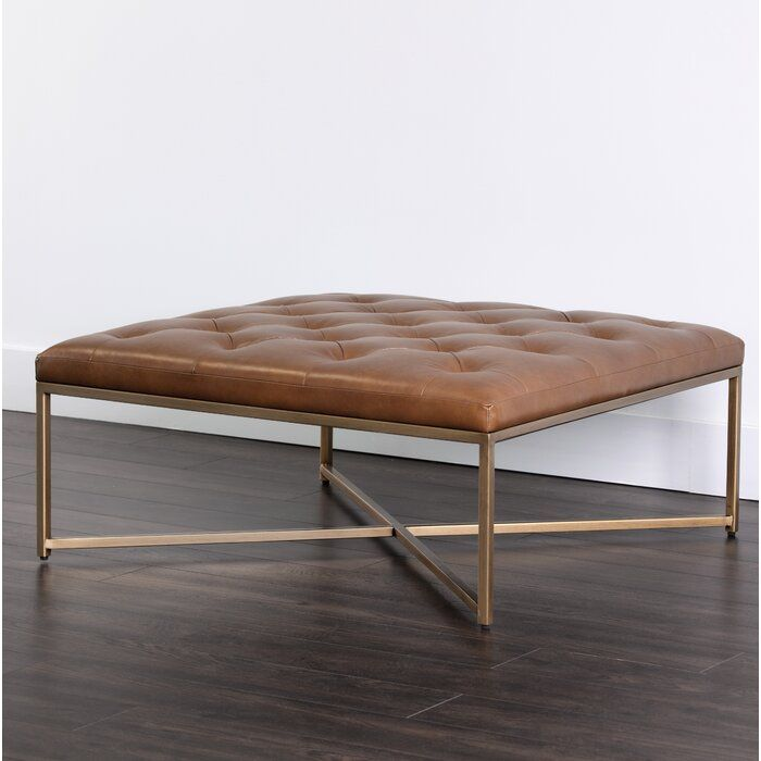Endall Square Leather Tufted Tail Ottoman