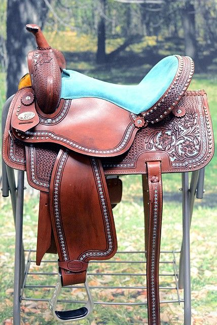 OS108 HILASON WESTERN LEATHER BARREL RACING TRAIL PLEASURE RIDING SADDLE ANTIQUE MAHOGANY