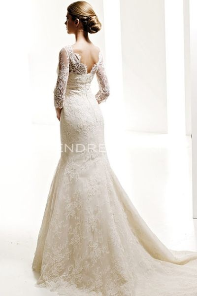 Catching Mermaid Silhouette Lace Wedding Gowns with Three-Quarter Sleeves, New Arrivals Wedding Dresses - Trendress.com