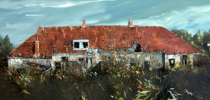 Olieverf schilderij: Oude schuur Heerenveen
