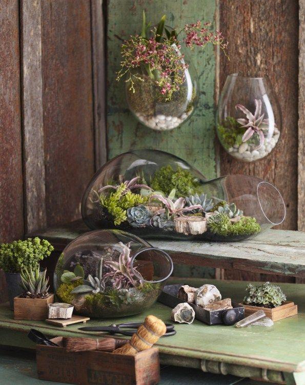 Que tal estos terrarios tan hermosos para usarlos en la decoración de una boda otoñal! #Terrariums #Deco #weddingvintageideas
