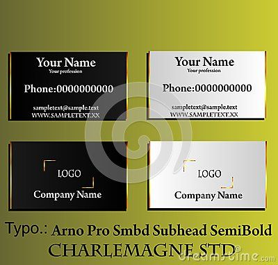 Elegant black and white business card with gold border. Vector illustration.