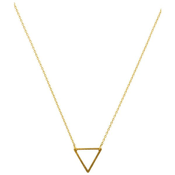 Wanderlust + Co Frame Triangle Necklace Accessories found on Polyvore featuring jewelry, necklaces, accessories, colar, triangle necklace, pendant jewelry, cross necklace, triangle pendant and gold tone necklace