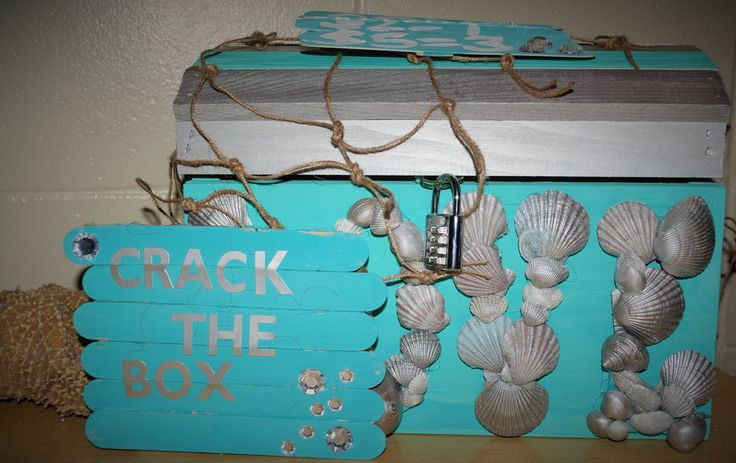 Find out how to make this treasure box - crack the box - stag and doe http://colesconceptsto.wix.com/events#!Building-a-Party-Theme/qb0nk/56cb51190cf26bd1d3ea0f84