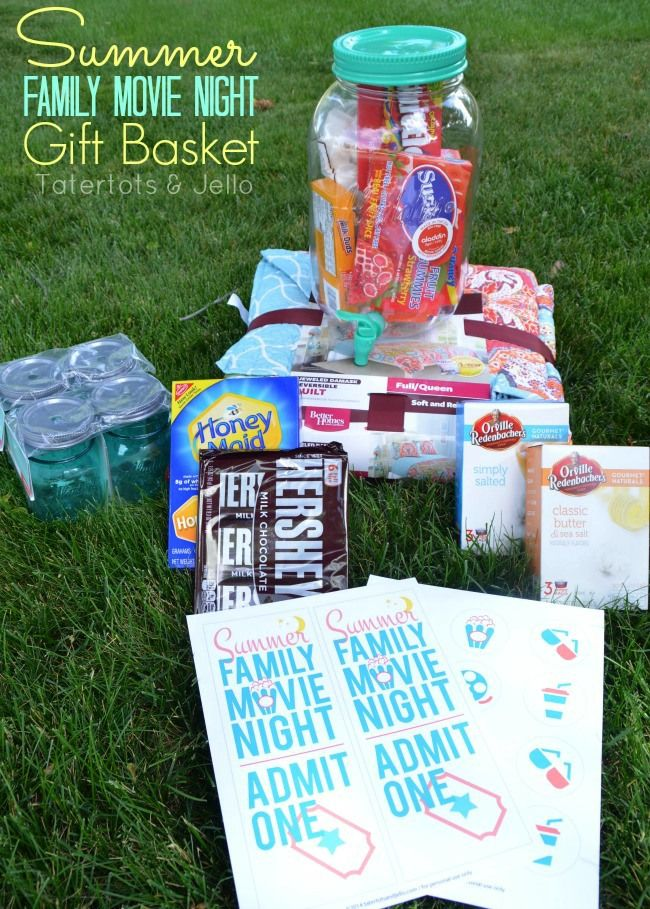 Great Ideas — 20 DIY Outdoor Summer Projects!: Basket Giveaway, Night Gift, Gift Ideas, Summer Gifts, Movie Nights, Summer Gift Baskets, Night Printables, Family Movies