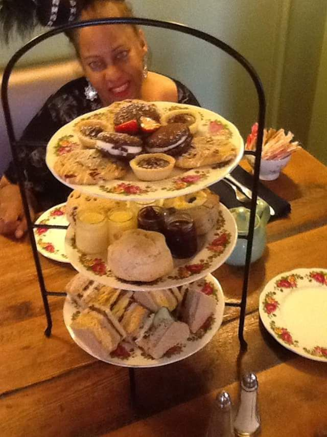 Diana is ready to enjoy the Full Afternoon Tea!