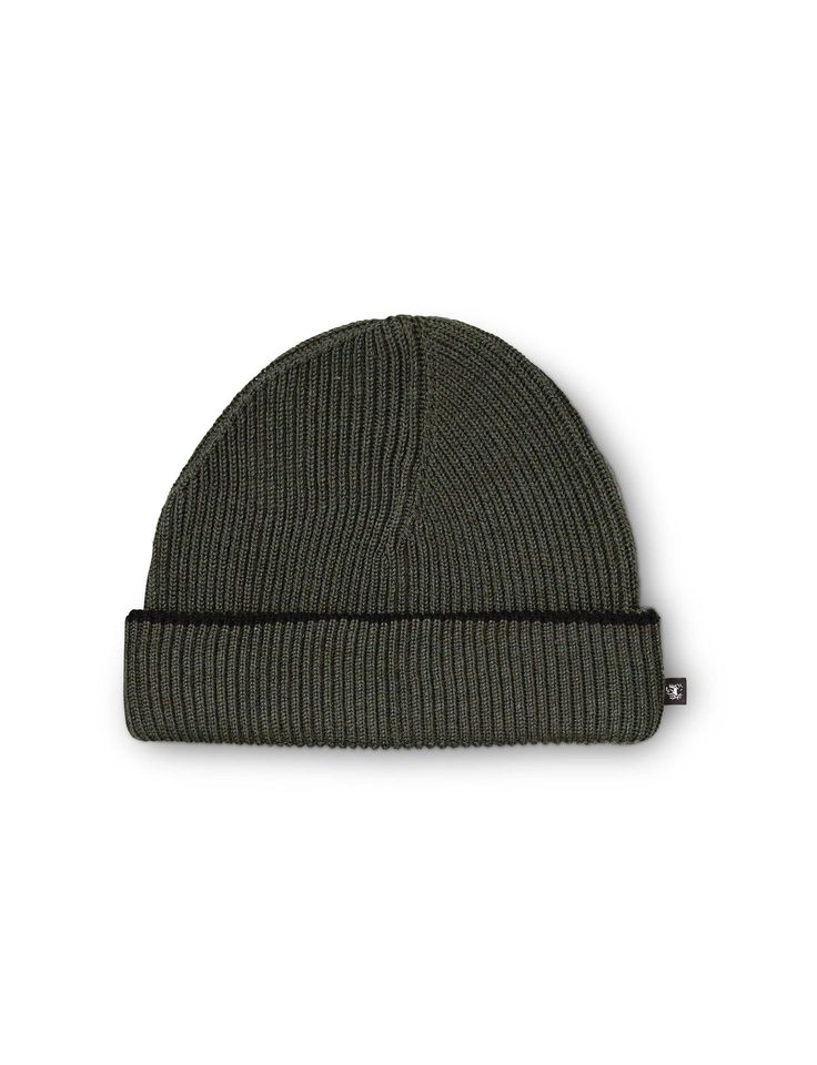 ALFONSO HAT-Men's knitted beanie in pure wool. Features contrast coloured detail at top of folded edge. One size.