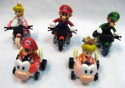 Mario Bro: Mini Mario Kart Bikes & Cars Figure Set by Super Mario Bros. $19.99. This is a 5 piece figure set of your favorite Super Mario Brothers characters!. The figures on the bikes can be removed from the seats.. These are perfect to have next to your game console, in a display case, or race them yourself!. Each figure stands about 2 to 3-inches tall and has moving parts.. This is a 5 piece figure set of your favorite Super Mario Brothers characters! This se...
