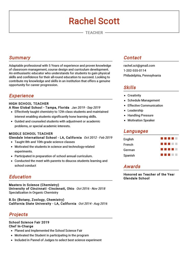 The most professional teacher sample resume