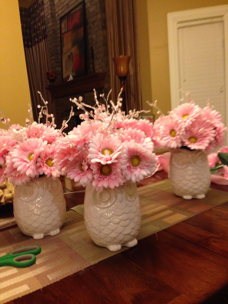 Baby shower owl centerpieces