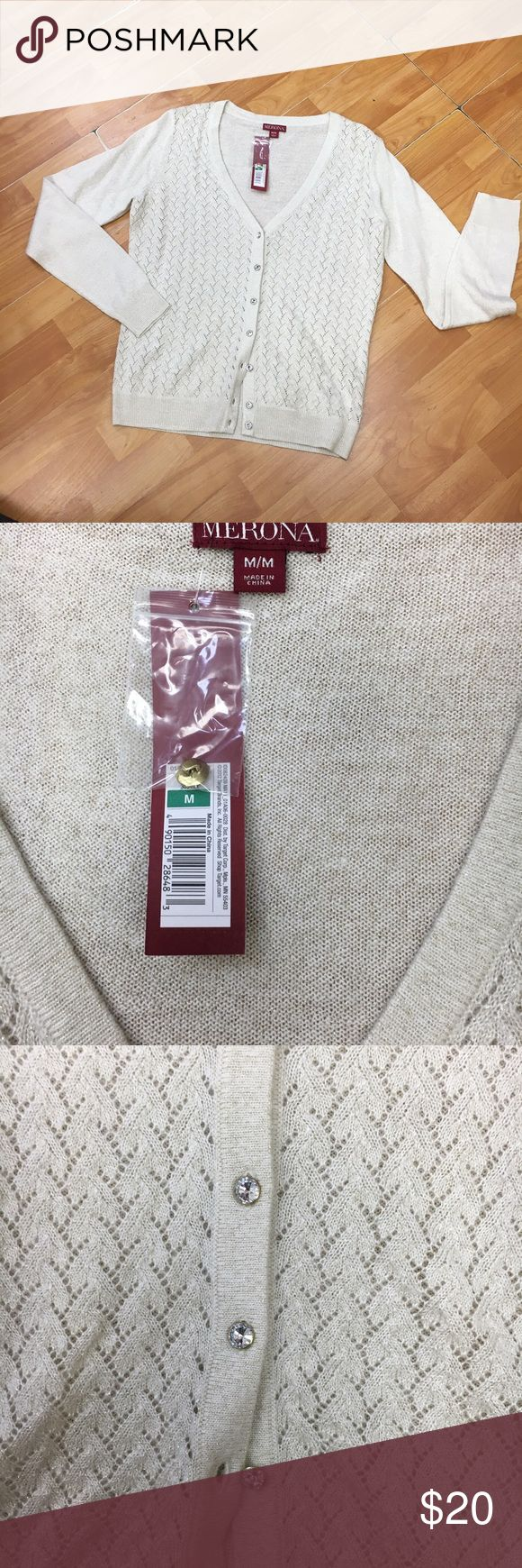 Merona Cream Gold Cardigan Jewel Buttons NEW NWT M Merona Cream Gold Cardigan Jewel Buttons NEW NWT M  Beautiful and delicate.  Very soft.  New with tags. Merona Sweaters Cardigans