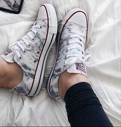 Black and White Marble Converse Sneakers