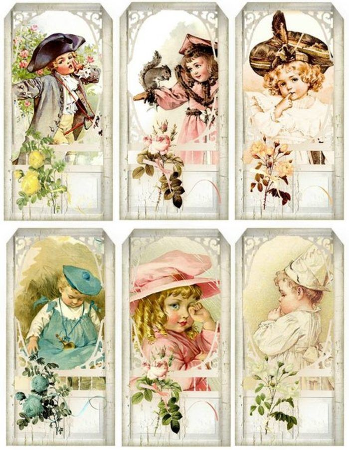 12 Hang Gift Tags Vintage Children Images 608   eBay